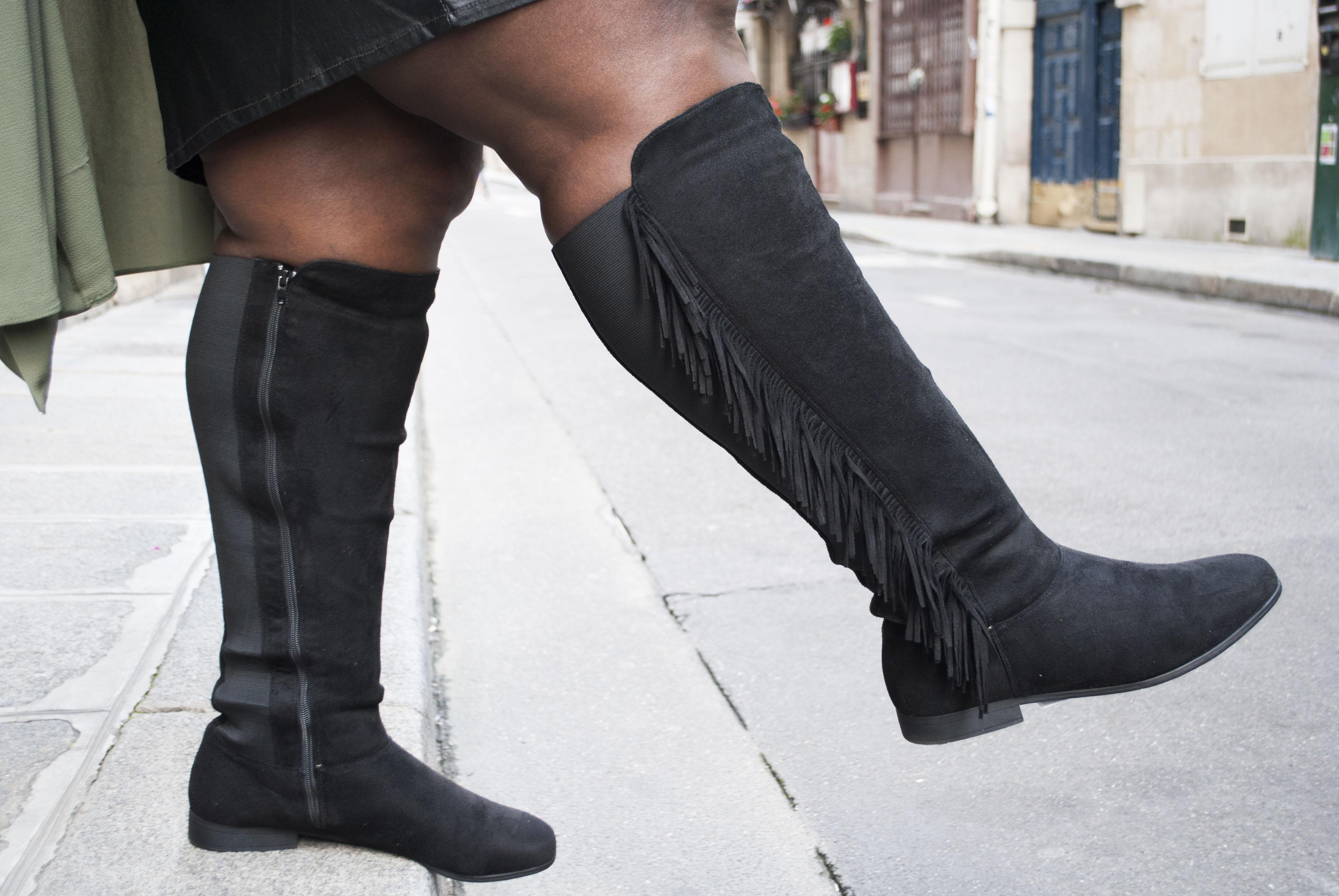 Bottes, motif fleur, pied large 38-45 . femme noir Castaluna : un large choix de chaussures